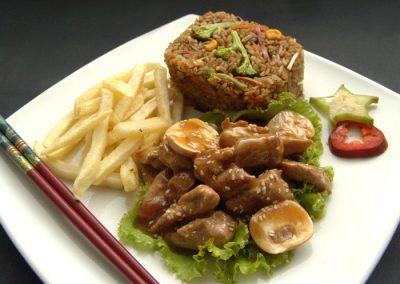 Teriyaki de cerdo o pollo